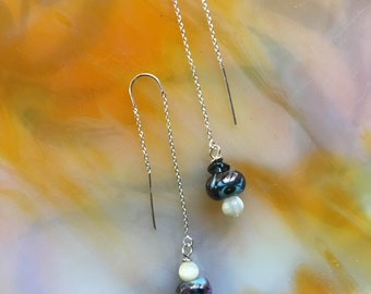 CalyKat Pearl Diver Earrings with Handmade Lampwork Beads  Freshwater Pearls and  Sterling Silver Threaders