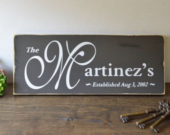 Custom Family Name Painted Sign On Wood Wall Decor