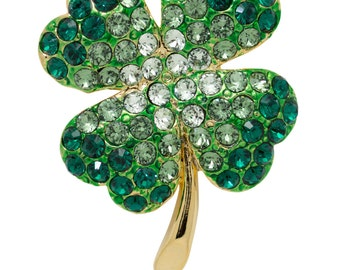 St Patrick Day Four Leaves Clover Pin Brooch with Swarovski Element Crystals