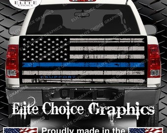 Police Thin Blue Line Flag Truck Tailgate Wrap Vinyl Graphic Decal Sticker Wrap