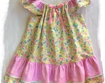 Easter Dress, Little Girls Dress, Size 3, Baby Girl Dress, Girls Dress, Flutter Sleeve Dress, Flowered Dress