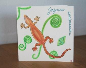 Card happy birthday salamander
