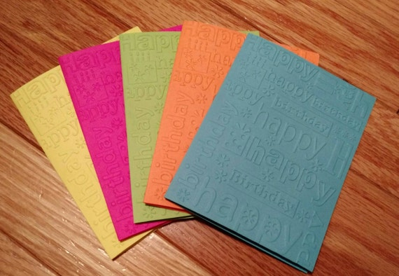 Birthday cards, Mini cards, mini card set, Birthday card set, set of Birthday cards, neon Birthday cards, Birthday card for teen, 5 card set