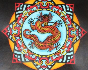 Dragon stained glass mandala