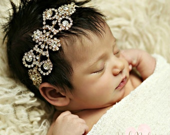 Baby headbands, baby rhinestone headband, newborn headband,Gold Baby headband,Baby girl Headband, Crystal headband, Flower girl headband.