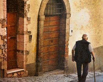 Montalcino Italy, Man Walking, Italian Man Photo, Man with Cane , Tuscan Man Walking, Wall Decor, Fine Art Photograph