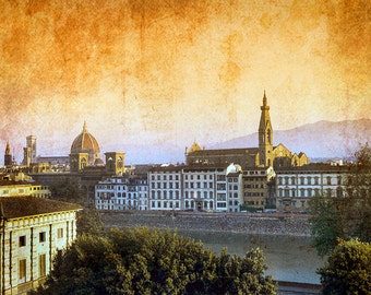 Florence Italy, Florence Sunrise Photo, Florence Textured Photo, Florence Travel, Florence Wall Decor, Large Wall Art