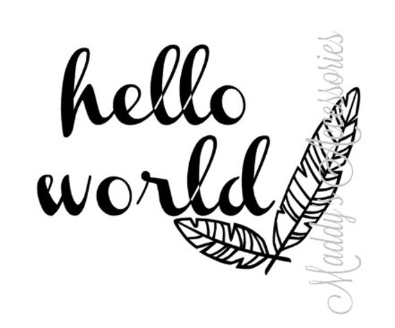 Iron on decal - Hello World - feathers - baby clothing accessory