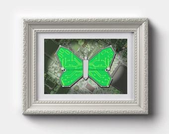Art Print 'Circuitry Butterfly'  Geeky Digital Art, Motherboard Artwork, Geeky Insect, Geek Wall Art, Computer Art Gift