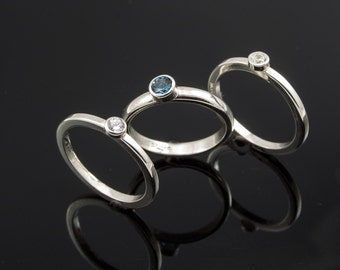 Hand made Silver Stacking Rings set with Blue Topaz & Cubic Zirconia