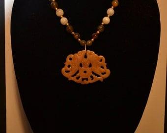 Vintage asian motif stone carving pendant/necklace