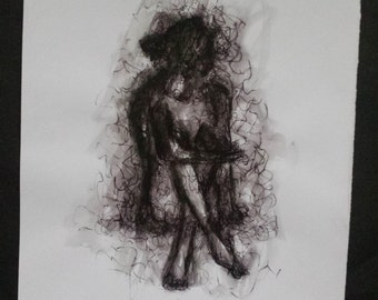 Black and White Mixed Media Drawing of Sitting Woman