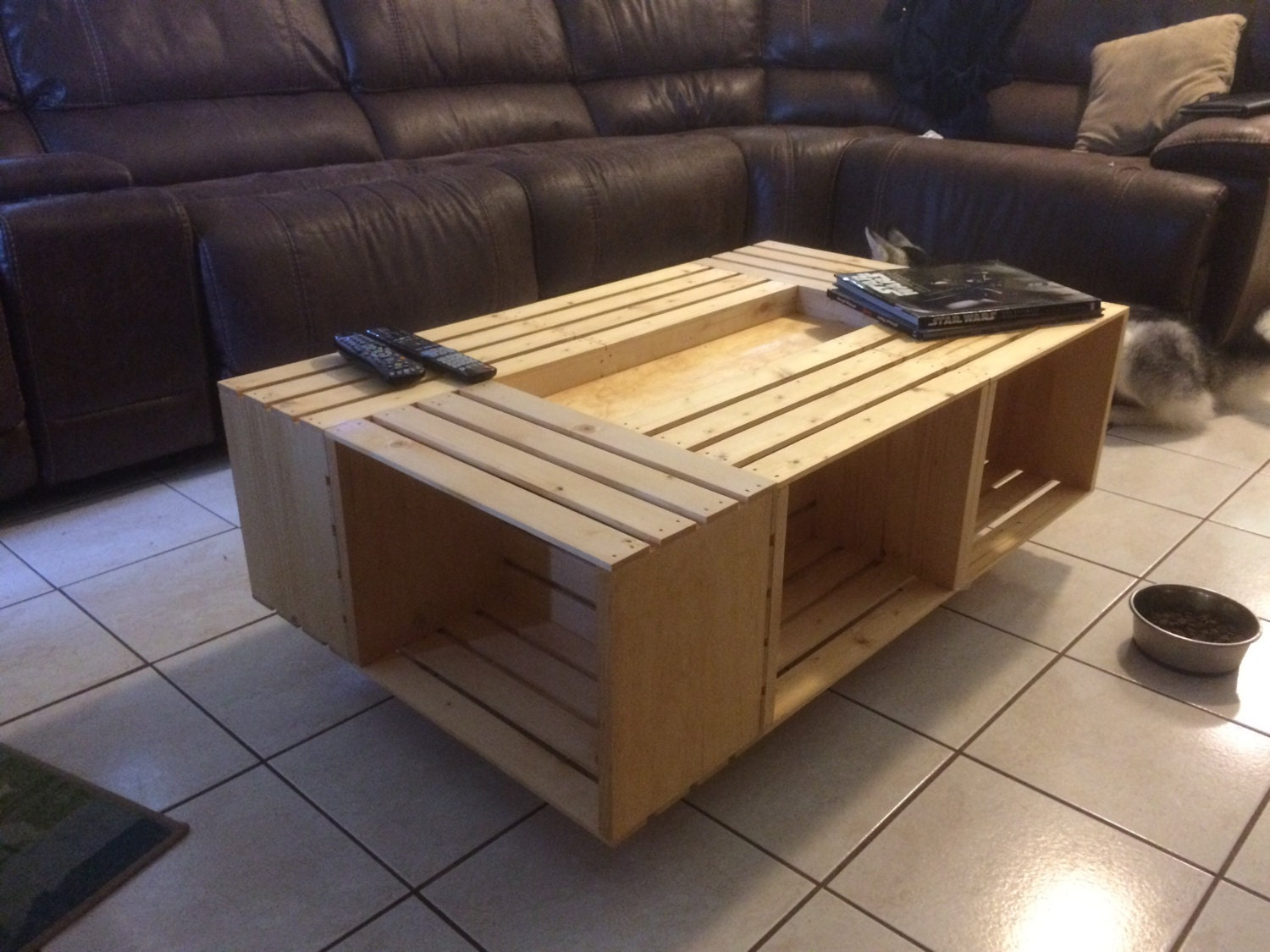 Six wine crate coffee table for Coffee table made out of wine crates