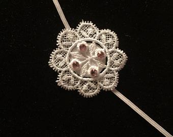 Venise Flower Lace Headband- Thin Elastic