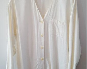 Button Up Blouse- Off White Daniel Hetcher