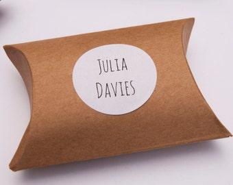 10 Wedding Favor Boxes - Personalized, Pillow Box Wedding Favor, Wedding Favor Pillow Box, Kraft Gift Boxes with Label, Wedding Boxes