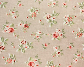Classic Rose Fabric, Floral Fabric, Cotton Fabric, Vintage, Beige, Quilting Sewing Patchwork Dressmaking Supplies, Half Metre