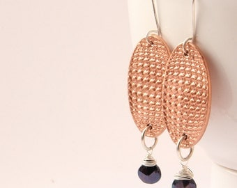 Copper, sterling silver and semi precious art deco style dangle earrings, Hand forged copper, silver wire wrapped spinel drops