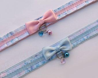 Dolly sky - pink/light blue - NekoLaces tug proof collar