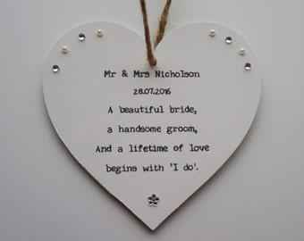 Wedding gift personalised handmade heart plaque friend, daughter, son, sister, brother, niece, nephew, grandson, granddaughter