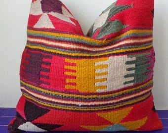 50x50cm   large kilim pillow wool red pillow cover - 217b
