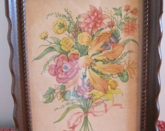 Floral Print, Small Framed Print, Botanical Print, DAC Print, Vintage Floral Print