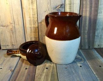 Brown and Tan Stoneware Jug