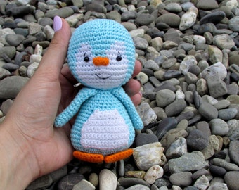 Penguin soft toy, crochet penguin, knitted penguin, plush penguin, little cute penguin, blue penguin