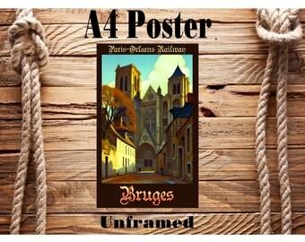 Beautiful Retro A4 Vintage Travel Poster Bruges Belgium Unframed