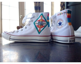 Here and Now Custom Hand Embroidered Converse Sneakers