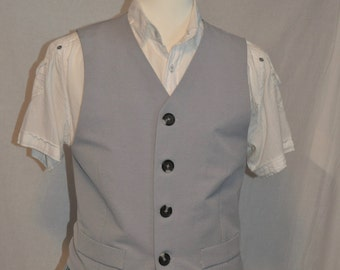SIZE MEDIUM MENS | Men's Medium Grey Vest | Mens Waistcoat | Grey Waistcoat | Size Medium | Twill Vest |