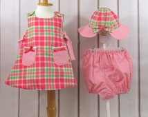 Baby Girl, Three Piece Ensemble, Apron Dress, Panty, Sun Hat, Salmon Pink Plaid, Gingham Check, Classic, Size 12 to 18 Months, Handmade