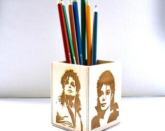 Michael Jackson, pen holder, Michael Jackson souvenir, Woodburning