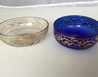 2 Blown glass hand painted snack bowl dishes