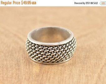 ON SALE Chain Link Band Ring Size 7.5 Sterling Silver 7.7g Vintage Estate