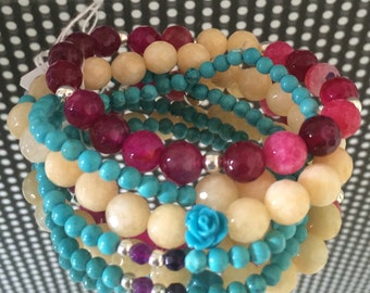 Bracelet with Turquoise stones, Jadeite and Agate.