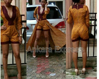 Ankara Express 2 piece Romper Maxi  with deep V. For occasions. Show stopper.