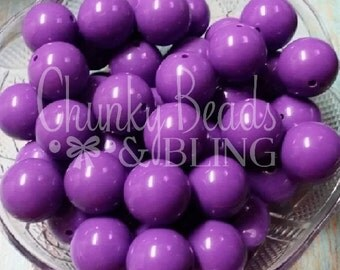 10pc. 20mm Purple Solid Gumball Beads