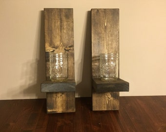 Rustic Wall Sconce with Mason Jars