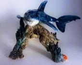 great white shark looking for dinner. handmade aquarium decoration- ooak ceramic art- original- fish tank
