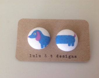 Weiner dog earrings, Weiner dog fabric, dachshund fabric covered button earrings pair