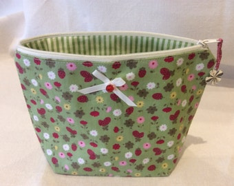 Make up bag cosmetic bag in pretty green flowered cotton