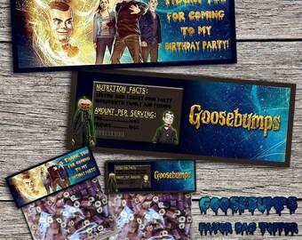 Goosebumps Birthday Favor Bag Topper - Printable Digital Goosebumps Loot Bag Toppers - Instant Download Goosebumps Candy Bag Topper