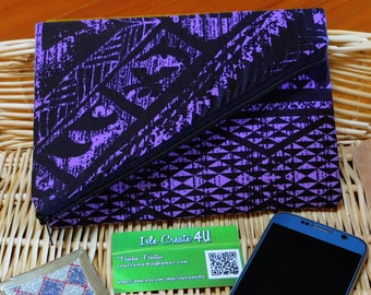 Purple and Black Hawaiian Tribal Print Foldover Clutch Purse with Black Lining