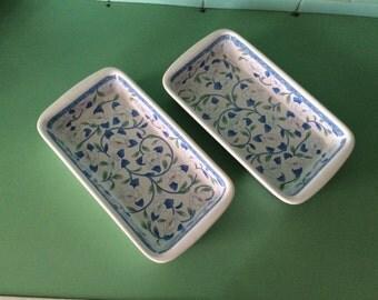 Tiffany white porcelain baking dish/ Pan with flowers / vintage skillet