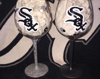 White Sox Bride &Groom Wine Glass Set