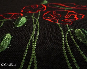 MACHINE EMBROIDERY DESIGN - Poppy - velvet