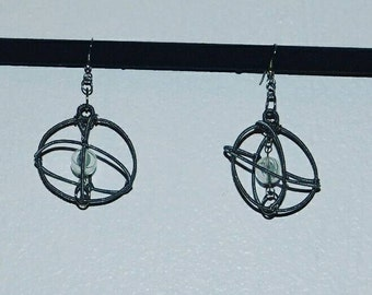 Astronomical Wire Wrapped Sphere Earring