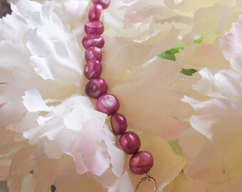 Raspberry Pearl Infinity Bracelet