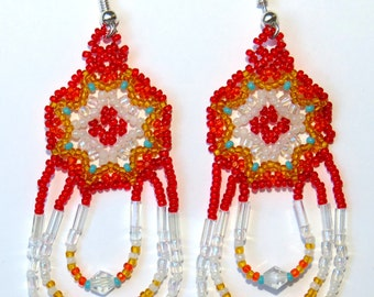 Red Orange Yellow White Iridescent Turquoise Modern Authentic Native American Beaded Earrings